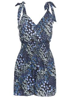 Rebecca Taylor Woman Bow-detailed Shirred Floral-print Silk-jacquard Playsuit Indigo