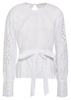 Rebecca Taylor Woman Broderie Anglaise Linen And Cotton-blend Blouse White