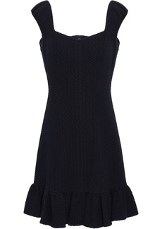 Rebecca Taylor Woman Cotton-blend Jacquard Mini Dress Navy