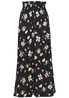 Rebecca Taylor Woman Cropped Floral-print Silk-blend Jacquard Wide-leg Pants Black