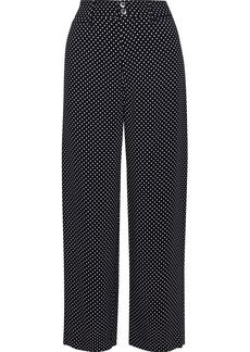 Rebecca Taylor Woman Cropped Polka-dot Cady Wide-leg Pants Midnight Blue