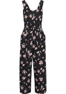 Rebecca Taylor Woman Daniella Cropped Floral-print Cotton And Linen-blend Jumpsuit Black