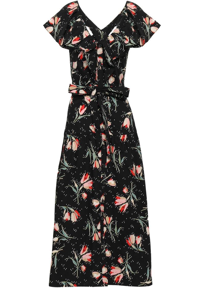 Rebecca Taylor Woman Floral-print Cotton-poplin Midi Dress Black