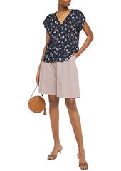 Rebecca Taylor Woman Floral-print Silk-blend Jacquard Top Navy