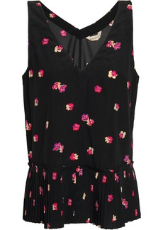 Rebecca Taylor Woman Floral-print Stretch-silk Crepe De Chine Top Black