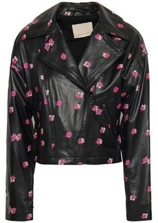 Rebecca Taylor Woman Floriana Floral-print Leather Biker Jacket Black