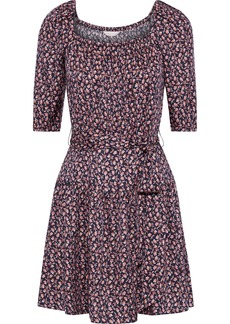Rebecca Taylor Woman Francesca Belted Floral-print Silk-blend Mini Dress Navy