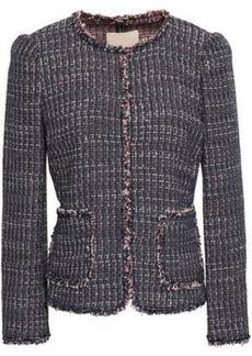 Rebecca Taylor Woman Frayed Cotton-blend Tweed Jacket Navy