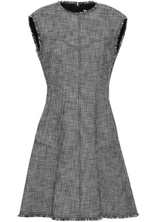 Rebecca Taylor Woman Frayed Cotton-blend Tweed Mini Dress Black