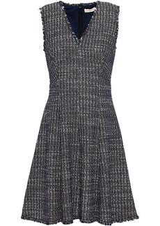 Rebecca Taylor Woman Frayed Cotton-blend Tweed Mini Dress Navy