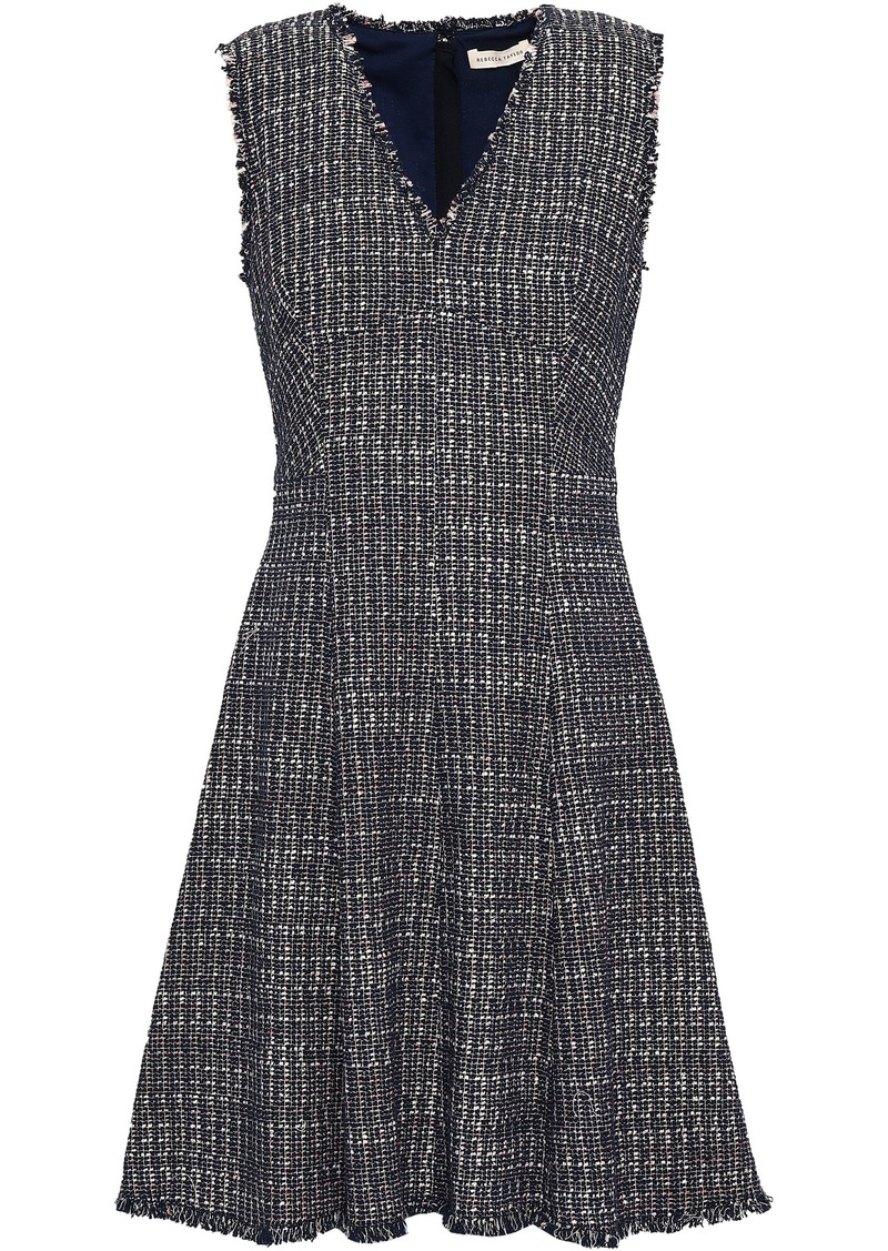 Rebecca Taylor Woman Frayed Cotton-blend Tweed Mini Dress Navy