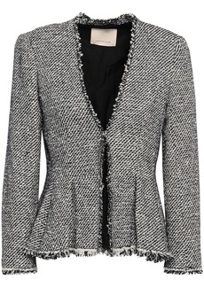 Rebecca Taylor Woman Frayed Cotton-blend Tweed Peplum Jacket Midnight Blue