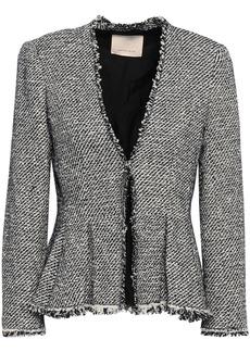 Rebecca Taylor Woman Frayed Cotton-blend Tweed Peplum Jacket Midnight Blue
