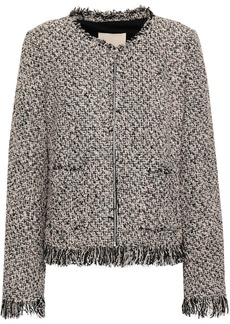 Rebecca Taylor Woman Fringed Cotton-blend Tweed Jacket Black