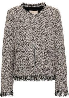 Rebecca Taylor Woman Fringed Cotton-blend Tweed Jacket Black