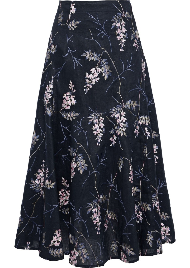 Rebecca Taylor Woman Ivie Embroidered Linen Midi Skirt Navy