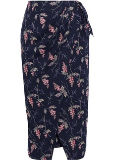 Rebecca Taylor Woman Ivie Wrap-effect Floral-print Cotton-poplin Skirt Navy
