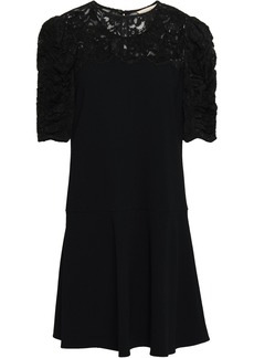 Rebecca Taylor Woman Lace-paneled Stretch-crepe Mini Dress Black