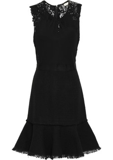 Rebecca Taylor Woman Lace Stretch-crepe And Tweed Mini Dress Black