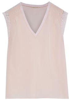 Rebecca Taylor Woman Lace-trimmed Shirred Silk Crepe De Chine Top Pastel Pink