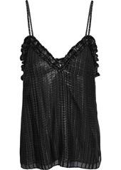 Rebecca Taylor Woman Metallic Checked Silk-blend Chiffon Camisole Black