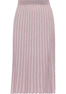 Rebecca Taylor Woman Metallic Ribbed-knit Skirt Blush
