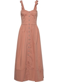 Rebecca Taylor Woman Button-detailed Shirred Cotton-blend Poplin Midi Dress Antique Rose