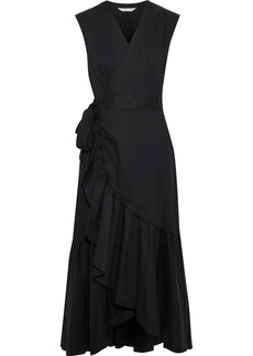 Rebecca Taylor Woman Ruffled Cotton-poplin Midi Wrap Dress Black
