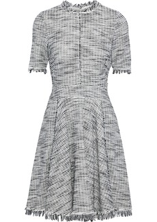 Rebecca Taylor Woman Pleated Cotton-blend Bouclé-tweed Mini Dress Stone