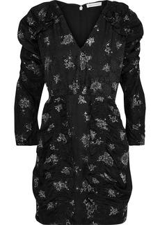 Rebecca Taylor Woman Ruffle-trimmed Glittered Silk-jacquard Mini Dress Black