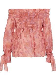 Rebecca Taylor Woman Off-the-shoulder Fil Coupé Silk-blend Organza Blouse Antique Rose