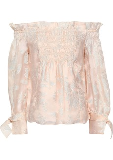 Rebecca Taylor Woman Off-the-shoulder Shirred Fil Coupé Silk-blend Blouse Pastel Pink