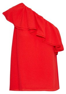 Rebecca Taylor Woman One-shoulder Ruffled Silk-crepe Top Red
