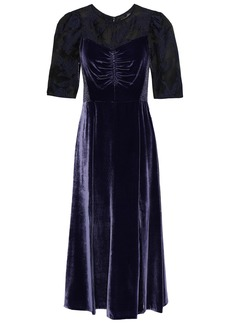 Rebecca Taylor Woman Organza Fil Coupé-paneled Velvet Midi Dress Dark Purple