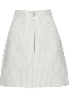 Rebecca Taylor Woman Pinstriped Cotton And Linen-blend Mini Skirt White