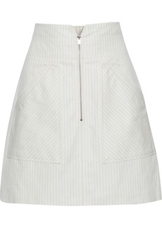 Rebecca Taylor Woman Pinstriped Cotton And Linen-blend Mini Skirt White