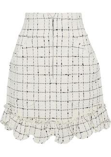 Rebecca Taylor Woman Ruffle-trimmed Cotton-blend Bouclé-tweed Mini Skirt Cream