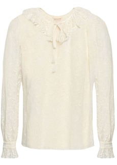 Rebecca Taylor Woman Ruffle-trimmed Embroidered Silk-gauze Blouse Cream