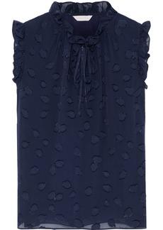 Rebecca Taylor Woman Ruffle-trimmed Fil Coupé Silk-blend Top Navy