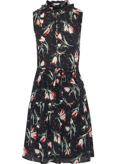 Rebecca Taylor Woman Ruffle-trimmed Floral-print Silk Crepe De Chine Mini Dress Black