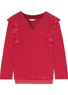 Rebecca Taylor Woman Ruffle-trimmed Polka-dot Silk Crepe De Chine Blouse Crimson