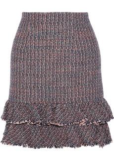 Rebecca Taylor Woman Ruffled Cotton-blend Bouclé-tweed Mini Skirt Pink