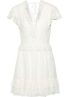 Rebecca Taylor Woman Ruffled Metallic Cotton-blend Gauze Mini Dress White