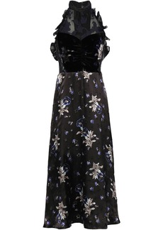 Rebecca Taylor Woman Satin Organza And Velvet Midi Dress Black