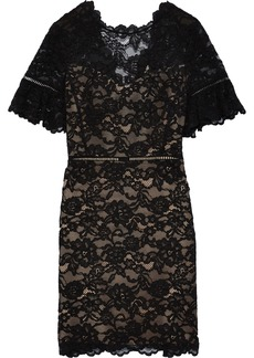 Rebecca Taylor Woman Scalloped Corded Lace Mini Dress Black