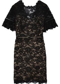 Rebecca Taylor Woman Scalloped Corded Lace Mini Dress Black