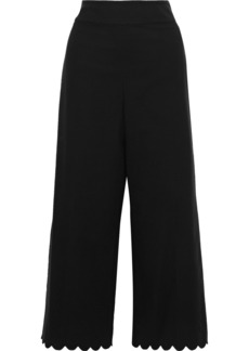 Rebecca Taylor Woman Scalloped Cotton-blend Wide-leg Pants Black