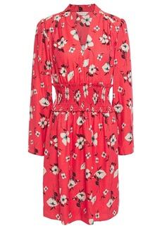 Rebecca Taylor Woman Shirred Floral-print Silk-blend Jacquard Mini Dress Papaya