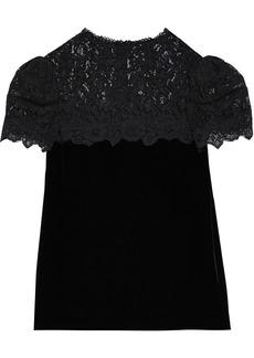 Rebecca Taylor Woman Corded Lace-paneled Velvet Blouse Black