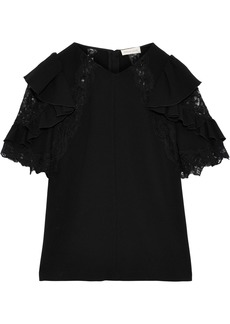 Rebecca Taylor Woman Lace-trimmed Ruffled Crepe Blouse Black